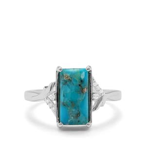 Bonita Blue Turquoise & White Zircon Sterling Silver Ring ATGW 2.72cts