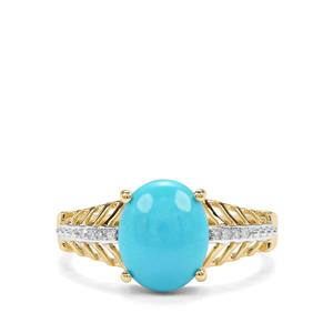 Sleeping Beauty Turquoise & Diamond 9K Gold Ring ATGW 2.17cts