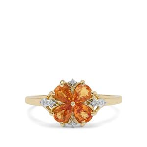 Tanzanian Sunset Sapphire Ring with Diamond in 9K Gold 1.11cts