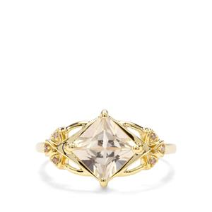 Serenite & Champagne Diamond 9K Gold Ring ATGW 1.59cts
