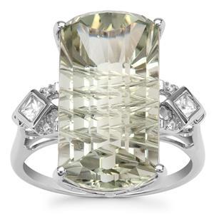 Lehrer Matrix Cut Prasiolite Ring with White Zircon in 9K White Gold 10.79cts