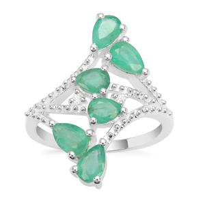 Zambian Emerald Ring with White Zircon in Sterling Silver 2.09cts