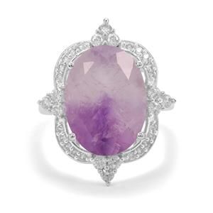 Boudi Hourglass Amethyst Ring with White Zircon in Sterling Silver 8.75cts