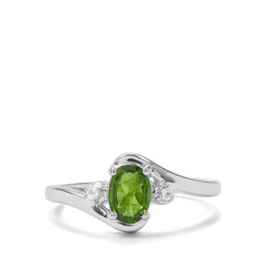 Chrome Diopside & White Zircon Sterling Silver Ring ATGW 0.79cts