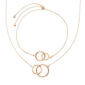 Rose Midas Diamond Cut Two Circle Necklace & Slider Bracelet 5.13g
