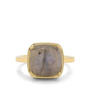 Paul Island Labradorite Ring  in Gold Plated Sterling Silver 5.60cts