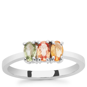 0.93ct Multi-Colour Sapphire Sterling Silver Ring