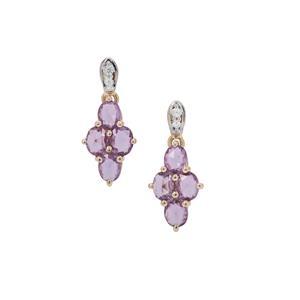 Rose Cut Purple Sapphire Earrings with White Zircon in 9K Gold 1.95cts