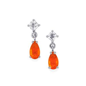 AA American Fire Opal Earrings with White Zircon in Platinum Plated Sterling Silver 2.31cts