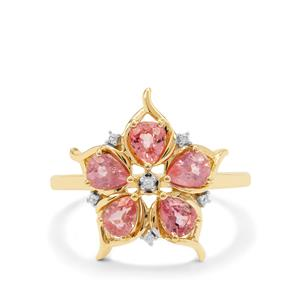 Padparadscha Sapphire Ring with White Zircon in 9K Gold 1.45cts