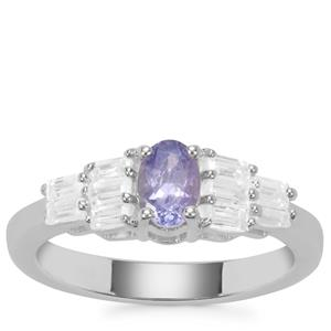 Tanzanite Ring with White Zircon in Sterling Silver 1.19cts