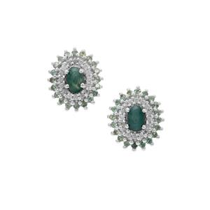 Grandidierite, Alexandrite Earrings with White Zircon in Sterling Silver 2.15cts