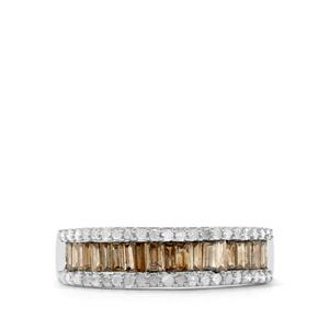 Champagne Diamond Ring with White Diamond in Sterling Silver 0.75ct