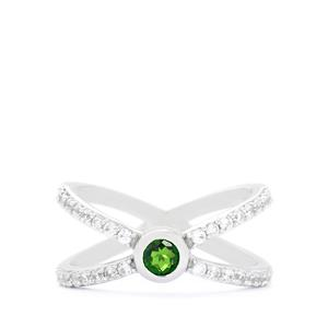 Chrome Diopside & White Zircon Sterling Silver Ring ATGW 1cts