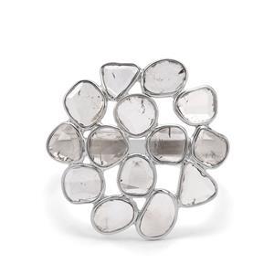 1.05ct Polki Diamond Sterling Silver Ring