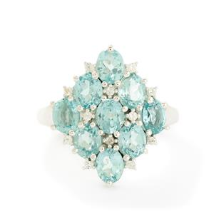 Madagascan Blue Apatite & White Topaz Sterling Silver Ring ATGW 3.76cts