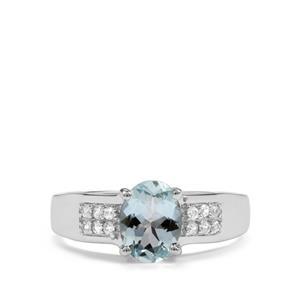 Pedra Azul Aquamarine & White Zircon Sterling Silver Ring ATGW 1.20cts