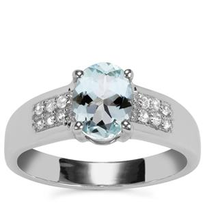 Pedra Azul Aquamarine Ring with White Zircon in Sterling Silver 1.20cts