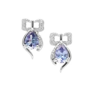 Tanzanite Earrings with White Zircon in Sterling Silver 1.36cts