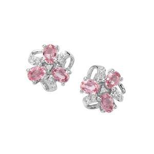 Sakaraha Pink Sapphire & White Topaz Sterling Silver Earrings ATGW 1.33cts