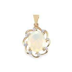 Ethiopian Opal Pendant with Diamond in 10K Gold 2.50cts