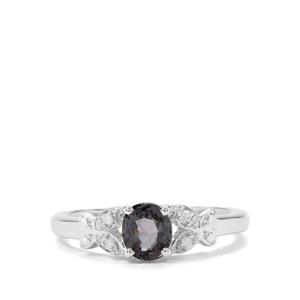Burmese Grey Spinel & Diamond Sterling Silver Ring ATGW 1cts