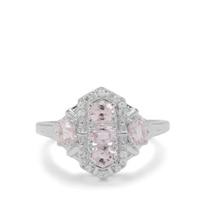 Burmese Spinel Ring with White Zircon in Sterling Silver 1.16cts