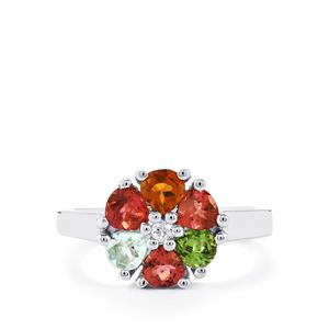 Rainbow Tourmaline Ring with White Topaz in Sterling Silver 1.30cts