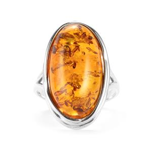 Baltic Cognac Amber Sterling Silver Ring (22x12mm)