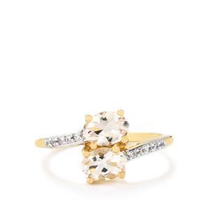 Goshenite & White Zircon 9K Gold Ring ATGW 1.29cts