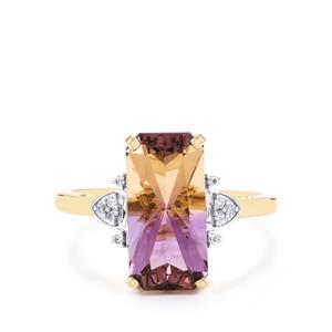 Anahi Ametrine Ring with White Zircon in 10k Gold 3.71cts