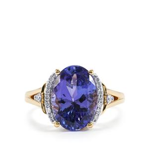AAA Tanzanite Ring with Diamond in 18K Gold 4.34cts