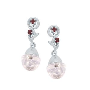 White Topaz & Mozambique Garnet Sterling Silver Bulb Earrings ATGW 0.72cts