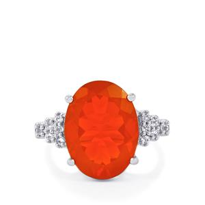 AAA Strawberry American Fire Opal Ring with White Topaz in Sterling Silver 6.12cts