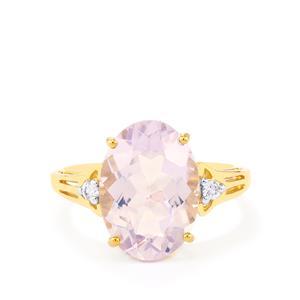 Rio Grande Lavender Quartz Ring with White Zircon in 10k Gold 5.71cts