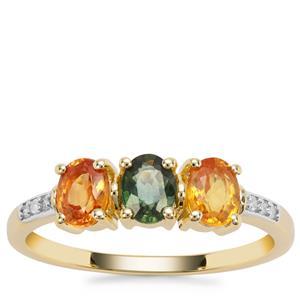 Tunduru Multi-Colour Sapphire Ring with Diamond in 9K Gold 1.30cts