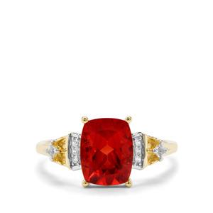 Red Labradorite & White Zircon 9K Gold Ring ATGW 1.84cts