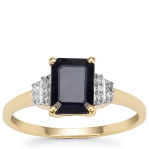 Ethiopian Blue Sapphire Ring with Diamond in 9K Gold 1.98cts