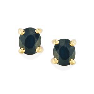 Australian Blue Sapphire Earrings in 10k Gold 1cts