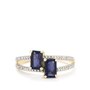 Bengal Iolite & Diamond 9K Gold Ring ATGW 1.04cts
