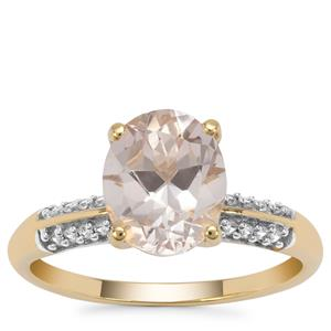 Rose Danburite Ring with White Zircon in 9K Gold 2.56cts