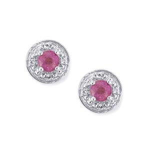 Ilakaka Hot Pink Sapphire Earrings with White Topaz in Sterling Silver 1.60cts (F)