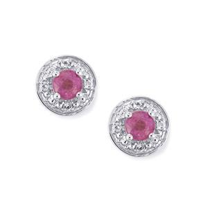 Ilakaka Hot Pink Sapphire & White Topaz Sterling Silver Earrings ATGW 1.60cts (F)