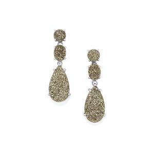 16.20ct Silver Drusy Sterling Silver Earrings