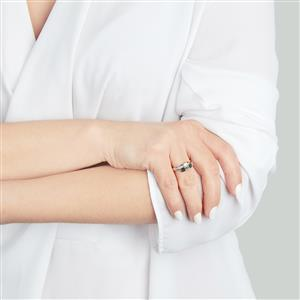 Green Diamond Ring with White Diamond in 10k White Gold 0.50ct