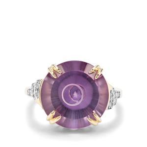 Maelstrom Cut Bahia Amethyst & Diamond 9K Gold Ring ATGW 10.32cts