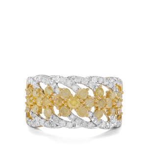 1.52ct Natural Yellow & White Diamond 9K Gold Tomas Rae Ring