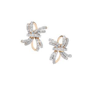 Diamond Knot Design Earrings in 9K Gold 1.54ct