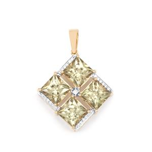 Csarite® & Diamond 18K Gold Lorique Pendant MTGW 7.98cts