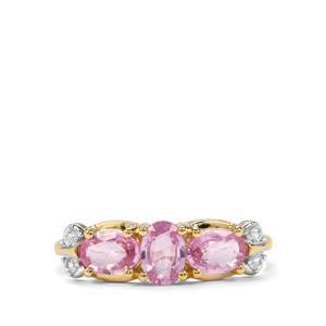 1.58ct Sakaraha Pink & Ceylon White Sapphire 9K Gold Ring